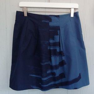 Vince Blue Brushstroke-Print Pleated Skirt
